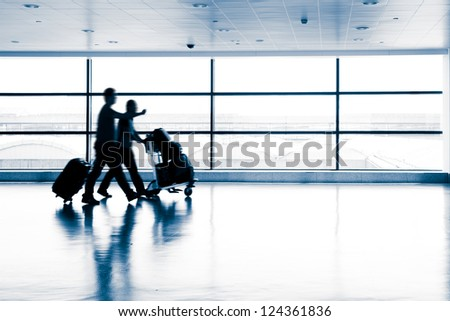 passenger in the shanghai pudong airport - stock photo