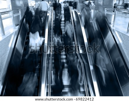 passenger in the subway station in shanghai china, blurred motion.