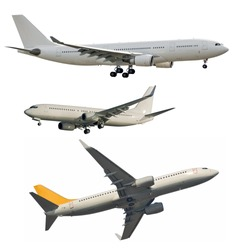 Passenger jet aircrafts cleaned from logos and isolated on white
