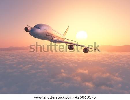 Passenger plane above the clouds. 3d render