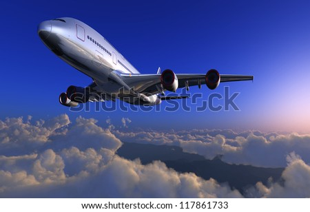 Passenger plane in the sky above the clouds