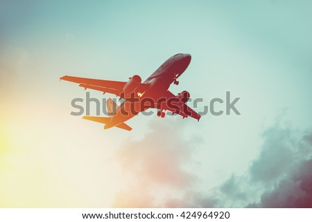 passenger plane in the sky at...