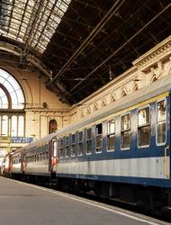 Passenger train in Budapest Keleti Railway Station ,Hungary,Eastern Europe.