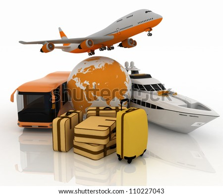 passenger transport for  trip with a globe and luggage