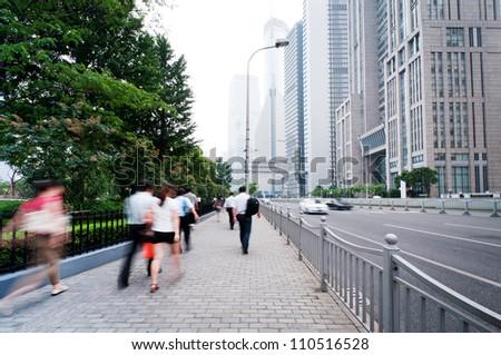 passenger walking on the walkway at shanghai china
