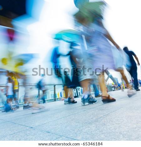 passenger walking on the walkway at shanghai china.