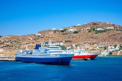 Passengers boats moored in the new port of Mykonos island in Greece