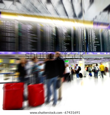 Passengers in a airport departure terminal -Motion Blur-