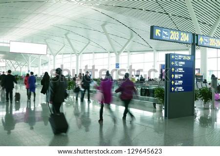 Passengers in Shanghai Pudong International Airport Airport