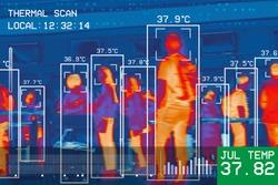 passengers infrared thermal heat scan imaging camera sensor at international airport seeking high body temperature checking system detection corona virus covid-19 infection disease