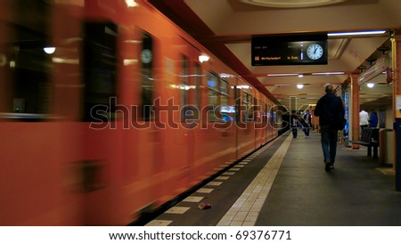 Passengers late for subway train