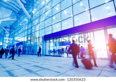 passengers motion blur in shenzhen train station waiting hall #120350623