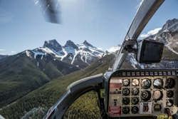 passengers view out of a helicopter in Alberta Canada