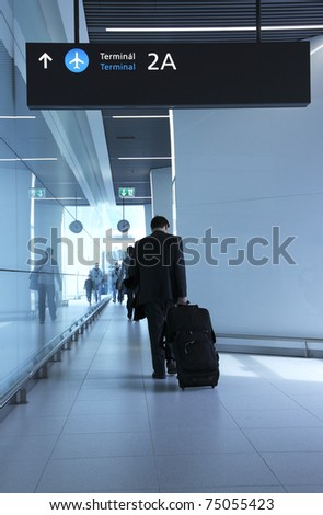 Passengers with luggage in the airport