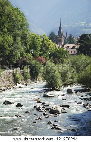 Passer River in Meran (South Tyrol, Italy)