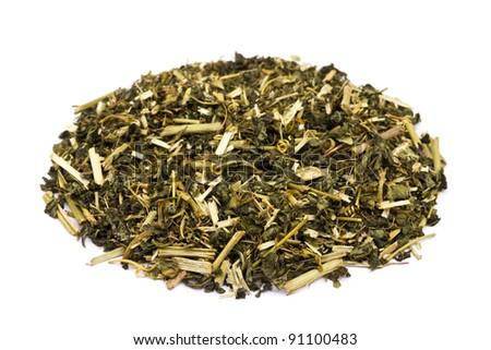 Passiflora tea leaves on white background