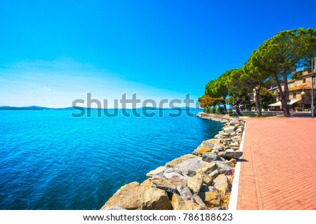 Passignano sul Trasimeno lakeside town, on the Trasimeno lake, Umbria Italy Europe. #786188623