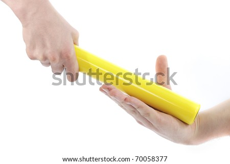Passing a baton on a white background.