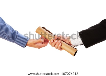 Passing the baton -Partnership or teamwork concept two men handing over a paperwork baton