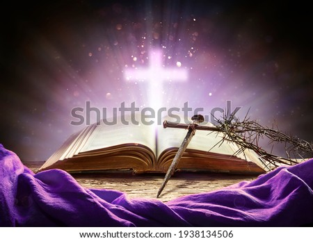 Passion And Resurrection Concept - Holy Bible And Calvary Symbols