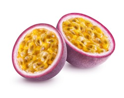 Passion fruit isolated. Two halves of maracuya passionfruit isolated on white background. Clipping path included.