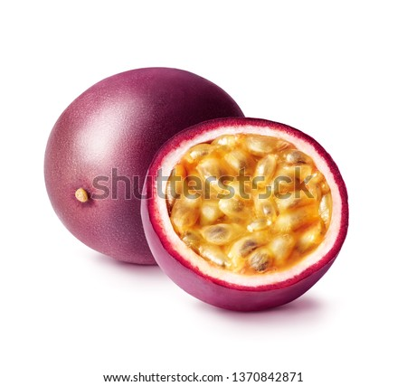 Passion fruit isolated. Whole passionfruit and a half of maracuya isolated on white background.