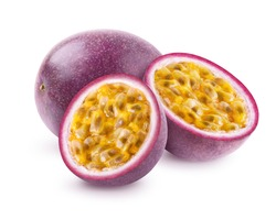 Passion fruit isolated. Whole passionfruit and two halves of maracuya isolated on white background. Clipping path included.