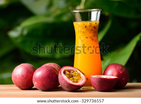 passion Fruit Juice isolated on background