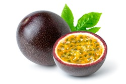 Passion fruit (Maracuya Passiflora) with cut in half sliced and green leaf isolated on white background.
