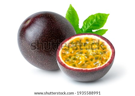Passion fruit (Maracuya Passiflora) with cut in half sliced and green leaf isolated on white background.  Photo stock ©