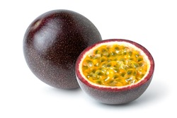 Passion fruit (Maracuya Passiflora) with cut in half sliced isolated on white background .
