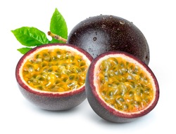Passion fruit (Maracuya Passiflora) with green leaf and cut in half slice isolated on white background.