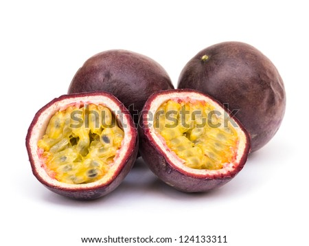 Passion fruit on white background - stock photo