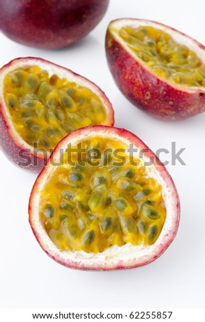 passion fruit on white background