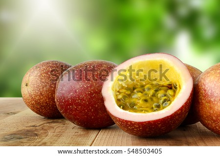 Passion fruit on wooden table.