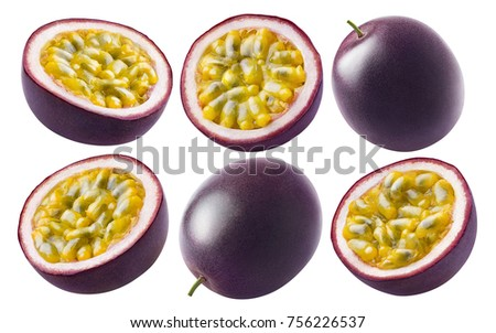 Passion fruit set isolated on white background as package design element