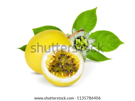 passion fruit with green leaf isolated on white background