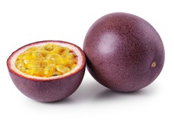 Passion fruit with half isolated on white background. Package design element