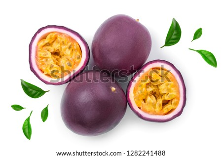 passion fruits and a half isolated on white background. Isolated maracuya. Top view. Flat lay