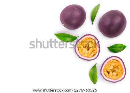 passion fruits with leaves isolated on white background with copy space for your text. Isolated maracuya. Top view. Flat lay.