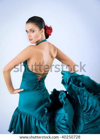 passion latin dancer in green dress