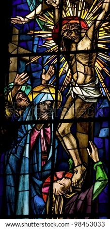 passion of Jesus. Ancient stained glass