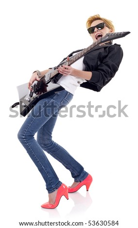 passionate girl guitarist wearing sunglasses and playin over white