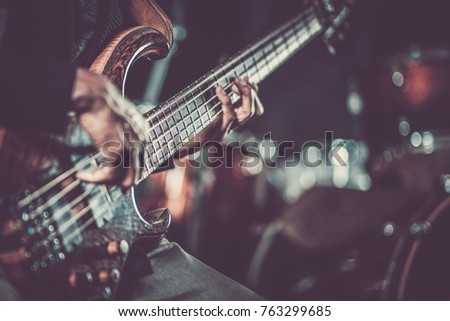Passionate Guitarist Music Concept Photo.  Electric Guitar Playing Closeup Photo   stock photo
