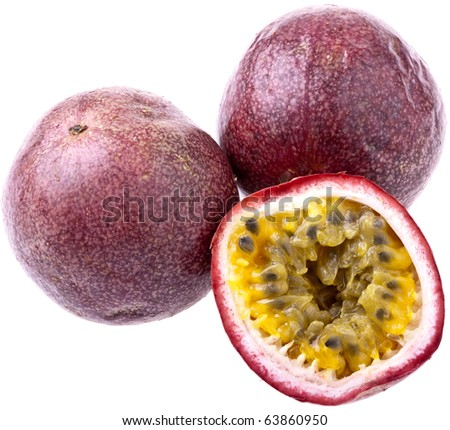 Passionfruit, completely isolated on white