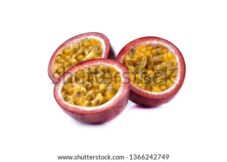 Passionfruit. Passion fruit maracuja isolated on white background as package design element - Изображение