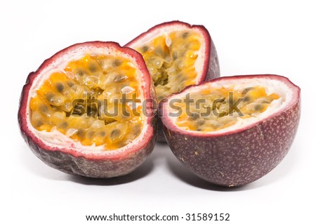 Passionfruits isolated against a white background