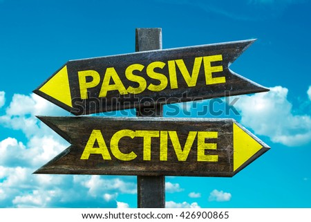 Passive - Active crossroad isolated on white background