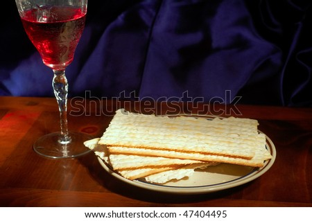 Passover elements of matzoh crackers and wine
