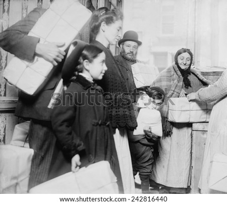 Passover matzo were given to poor Jewish people in New York City. Jewish communities established mutual-aid societies to aid the poor in their neighborhoods. April 1908